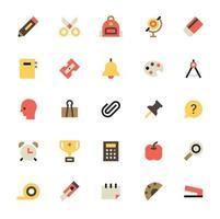 school supply icon set vector