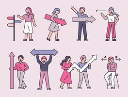 People holding arrow signs set vector