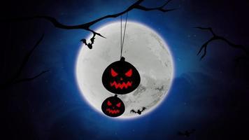 animação de fundo de halloween com morcegos e abóboras nas árvores