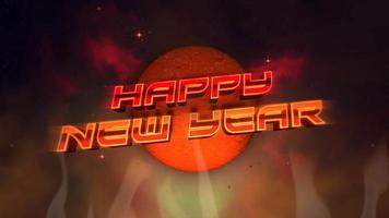 texte d'animation bonne année et cercle abstrait rétro et feu, fond de vacances rétro