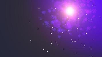 animação voar flocos de neve roxos e partículas abstratas
