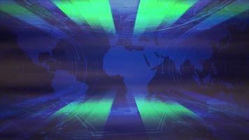 Animación gráfica de noticias de introducción con líneas de neón y mapa del mundo, fondo abstracto video