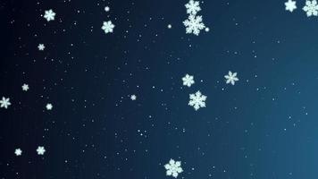 flocos de neve brancos, estrelas e partículas de bokeh abstrato caindo. feliz Ano Novo e feliz Natal