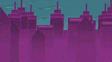 abstracte stadsgezicht achtergrond, cartoon animatie achtergrond met beweging wolken en gebouwen video