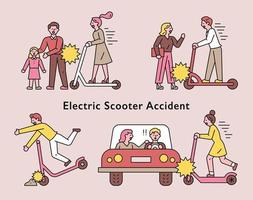 Electric scooter accident vector