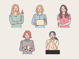 Collection of young women vector