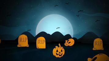 animação de fundo de halloween com fantasmas e morcegos no cemitério
