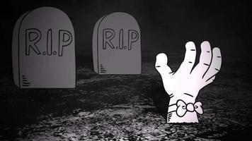 animation de fond halloween avec la main au cimetière video