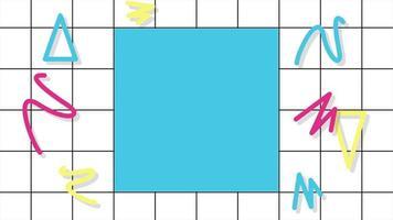 movimento formas geométricas abstratas em ziguezague e triângulos, fundo de grade memphis