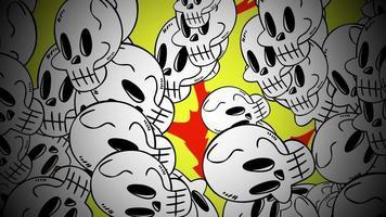 animação de fundo de halloween com os crânios