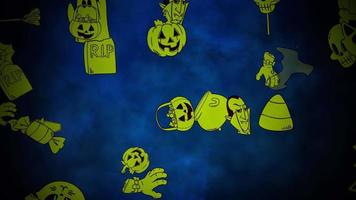 animação de fundo de halloween com abóboras, caveiras, fantasmas, fantasmas