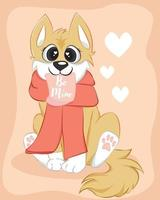 Vector illustration of a cute dog with scarf. Cute romantic background with text be mine. Valentines concept card with cartoon character.