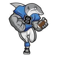 White Shark - American Football Mascot Character Design vector