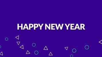 testo introduttivo di animazione felice anno nuovo su sfondo viola di moda e minimalismo con piccole forme geometriche video