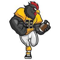 Gallo negro - diseño de personajes de mascota de fútbol americano vector