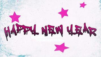 animazione intro testo felice anno nuovo su hipster bianco e sfondo grunge con le stelle video