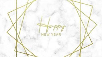 testo introduttivo di animazione felice anno nuovo su sfondo bianco di moda e minimalismo con linee d'oro video