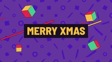animation text god jul och rörelse abstrakta geometriska former, memphis bakgrund
