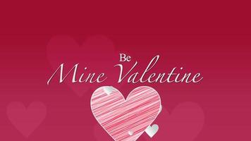 Gros plan animé être le mien texte de la Saint-Valentin et mouvement romantique coeurs rouges sur fond de Saint Valentin video