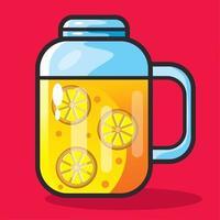 orange juice on the mug illustration in flat style vector