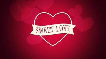 closeup animado, texto de amor doce e movimento romântico com grandes corações vermelhos no fundo do dia dos namorados
