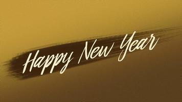 texto de introdução de animação feliz ano novo em fundo de moda ouro e minimalismo