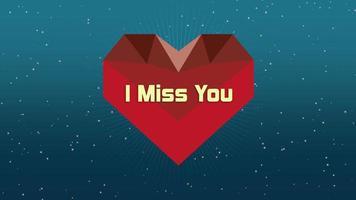 Gros plan animé tu me manques texte et mouvement coeur rouge géométrique sur fond de Saint Valentin