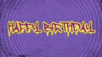 alles Gute zum Geburtstag des Animations-Intro-Textes auf schwarzem Hipster und Grunge-Hintergrund video