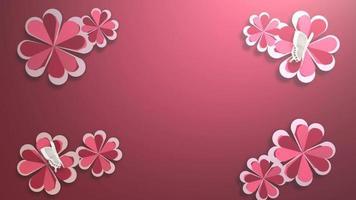närbild rörelse stora romantiska blommor på röda alla hjärtans dag blank bakgrund