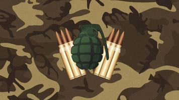 animation beskyddare och bomb på militär bakgrund