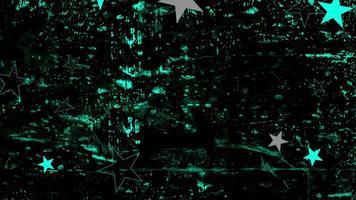rörelse abstrakt blå och grå stjärnor, svart grunge bakgrund video