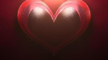närbild rörelse stora romantiska hjärta på röda alla hjärtans dag blank bakgrund