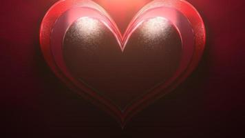 close-up beweging groot romantisch hart op rode Valentijnsdag glanzende achtergrond video