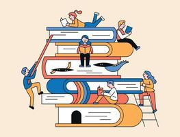 People on stacked books vector