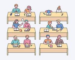 school students in class vector