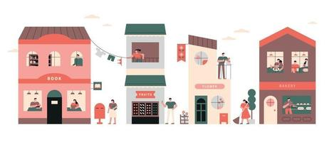 Neighbors on the street with pretty buildings. flat design illustration. vector