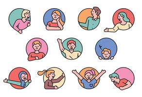 Happy people round avatar set vector