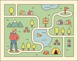 Ilustración del juego de direcciones. un hombre está buscando su punto objetivo. Ilustración de vector mínimo de estilo de diseño plano.