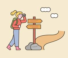 A woman is backpacking. She is looking for her way in front of a direction sign. flat design style minimal vector illustration.