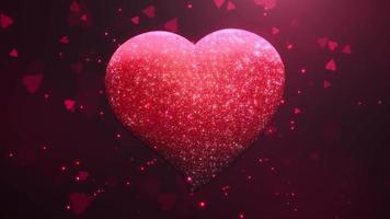 animation närbild rörelse stora romantiska hjärtan och glittrar på röd alla hjärtans dag blank bakgrund