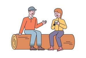 A man and a woman are sitting on a log and talking while resting. flat design style minimal vector illustration.