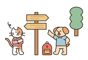Dog and cat backpacking flat design style minimal vector illustration.