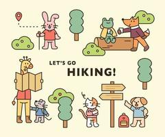 Animal hiking poster. Cute animals are traveling through the forest. flat design style minimal vector illustration.