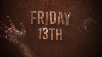 animação texto sexta-feira 13 sobre fundo de terror místico com sangue escuro, mãos e telefone