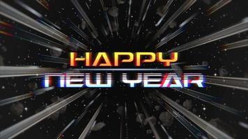 Texte d'introduction d'animation bonne année et lignes abstraites dans la galaxie, fond de vacances rétro video