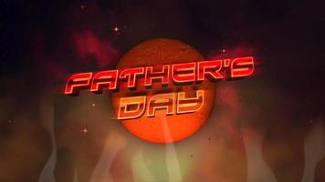 animação texto dia dos pais e círculo abstrato retro e fogo, fundo retro do feriado