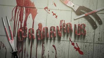 animiertes Nahaufnahmetext-Coronavirus und mystischer Horrorhintergrund mit dunklem Blut und medizinischen Instrumenten
