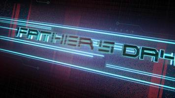 Animation text Fathers day and cyberpunk animation background with computer matrix, numbers and neon lines