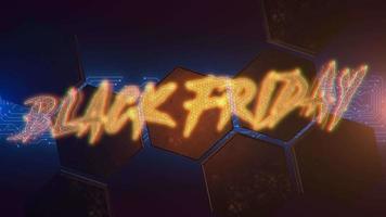 texto de introdução de animação black friday e fundo de animação cyberpunk com formato de hexágono e luzes de néon