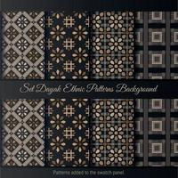 Set Dayak Ethnic Pattern Background. Indonesian batik pattern. vector